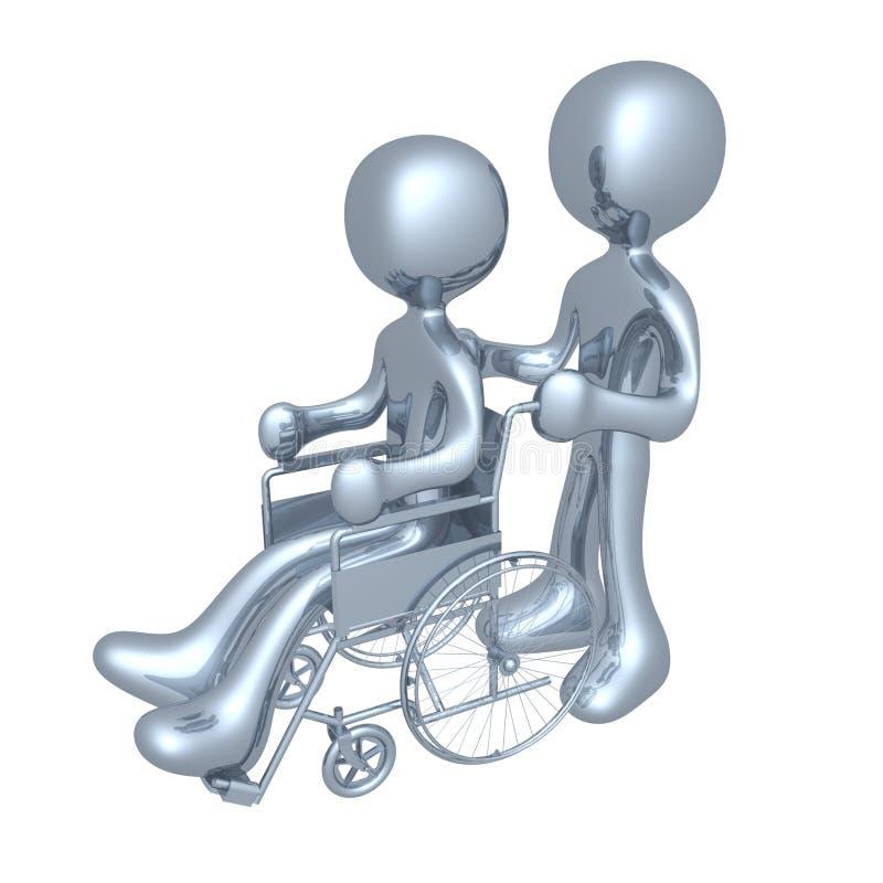 Persona su una sedia a rotelle illustrazione di stock