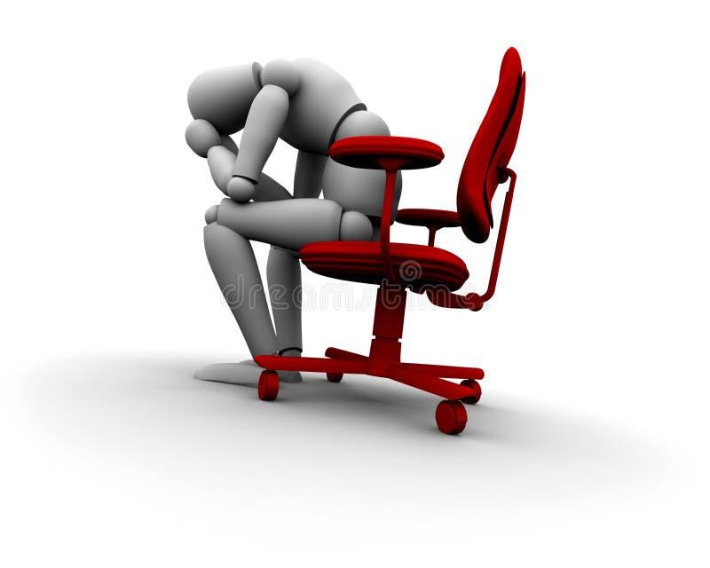 Persona triste che si siede sulla presidenza dell'ufficio illustrazione di stock