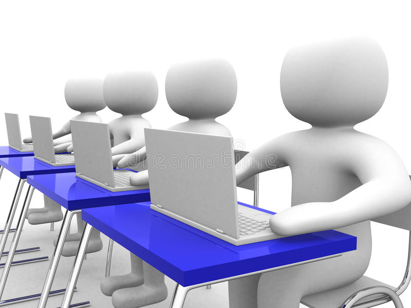persona y computadora portátil de la gente 3d en la oficina. Socios comerciales ilustración del vector