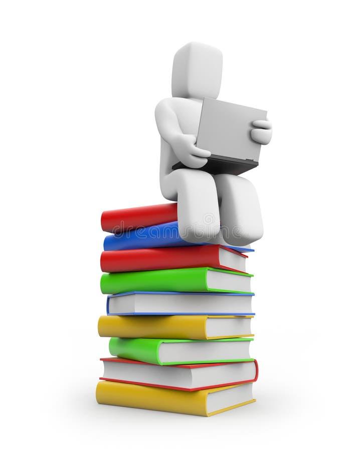 Persona y cuaderno. concepto del Uno mismo-entrenamiento ilustración del vector