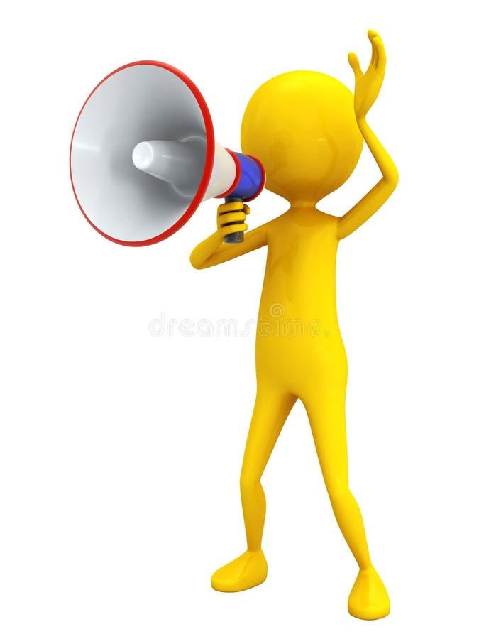 Personage met megafoon. stock illustratie