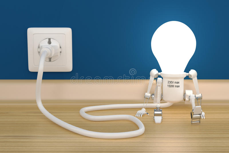 Personage robot lamp charge from electric outlet royalty free illustration