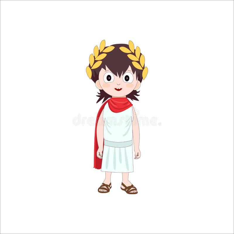 Personagem de banda desenhada antigo de Roma do menino que veste o traje tradicional Ilustração do vetor ilustração do vetor