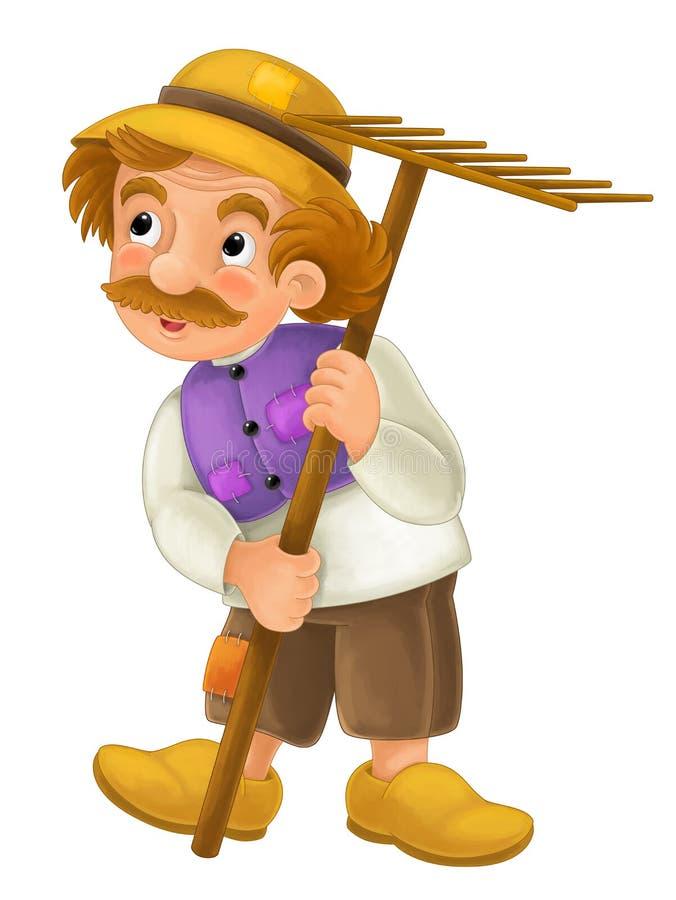 Personagem de banda desenhada belamente colorido - posição mais velha do fazendeiro e na terra e em anticipar - isolado - ilustra ilustração do vetor
