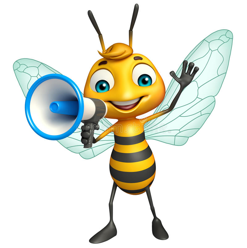 personagem de banda desenhada bonito da abelha com loudseaker ilustração do vetor