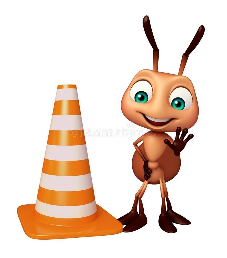 personagem de banda desenhada bonito da formiga com cone da construção ilustração royalty free
