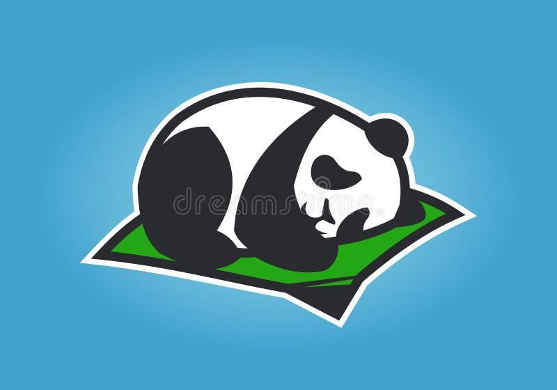 Personagem de banda desenhada bonito da panda que dorme em uma esteira ilustração do vetor