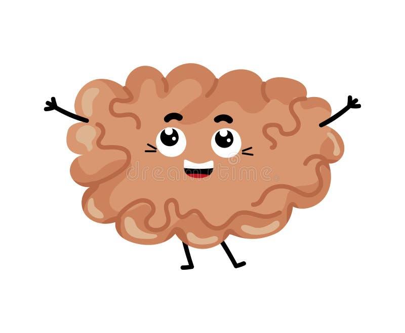 Personagem de banda desenhada bonito do cérebro humano ilustração stock