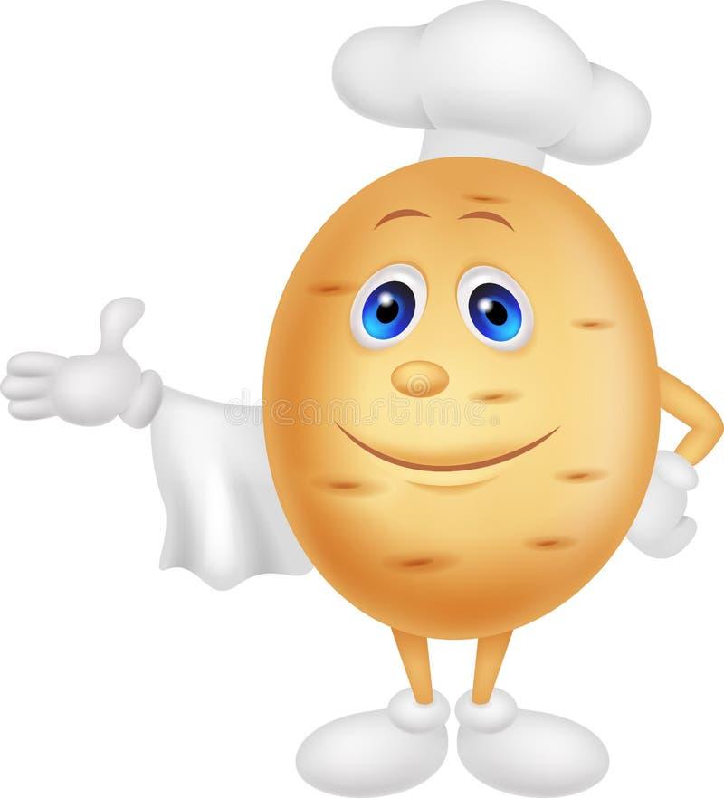 Personagem de banda desenhada bonito do cozinheiro chefe da batata ilustração stock