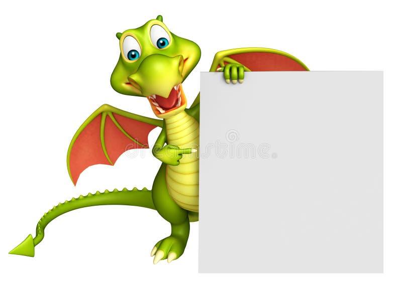 Personagem de banda desenhada bonito do dragão com placa branca ilustração do vetor