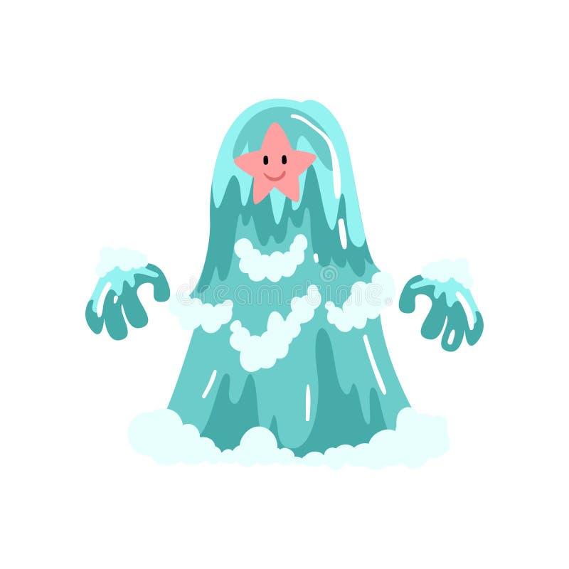 Personagem de banda desenhada bonito do monstro da água, ilustração do vetor da criatura da fantasia ilustração royalty free