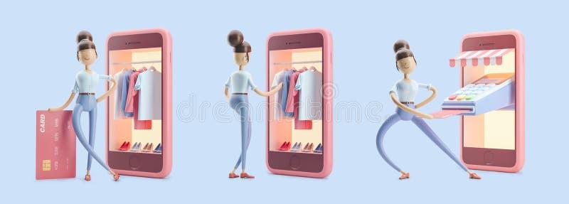 Personagem de banda desenhada com cartão, terminal e telefone de crédito Grupo das ilustrações 3d Compra do Internet ilustração do vetor