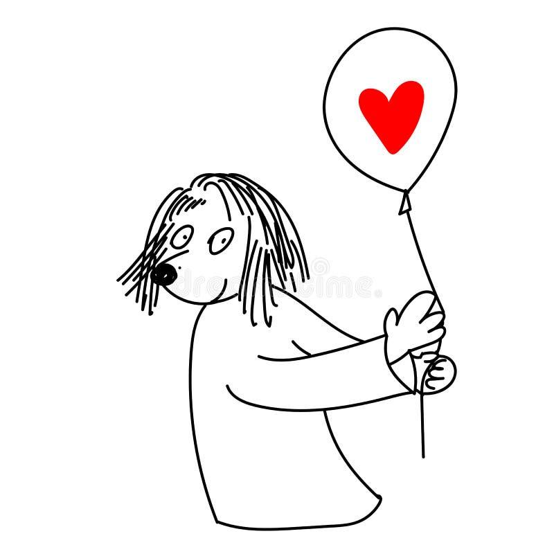 Personagem de banda desenhada com o balão de ar nas mãos com coração vermelho ilustração royalty free
