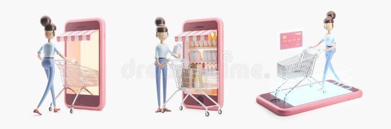 Personagem de banda desenhada com um carrinho de compras Grupo das ilustrações 3d Compra do Internet ilustração royalty free