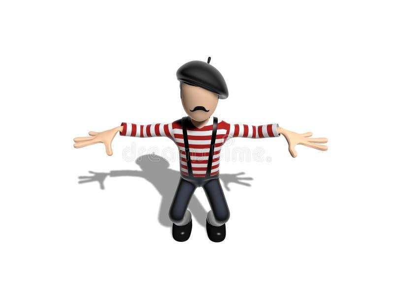Personagem de banda desenhada 3D francês em uma pose da ioga ilustração royalty free