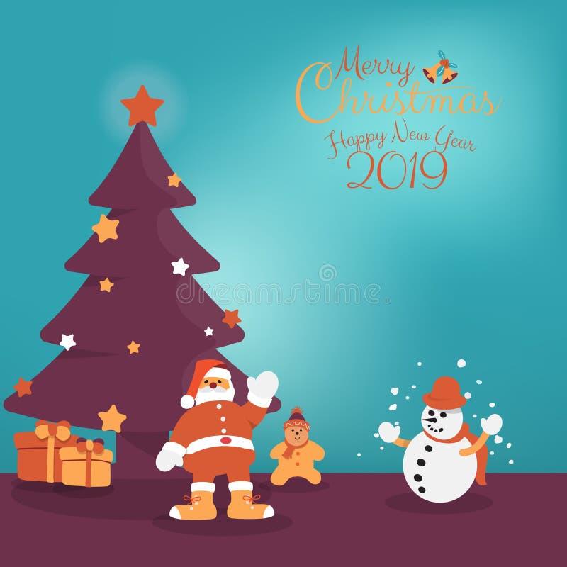 Personagem de banda desenhada da árvore de Santa Claus, do boneco de neve e de Natal com Feliz Natal escrito mão ilustração stock