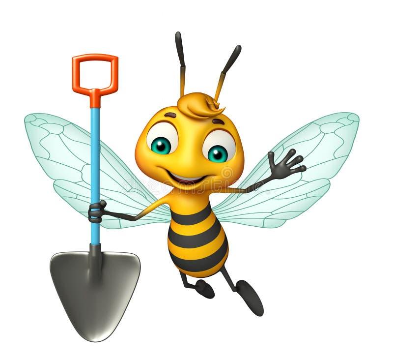 personagem de banda desenhada da abelha do divertimento com pá de escavação ilustração stock
