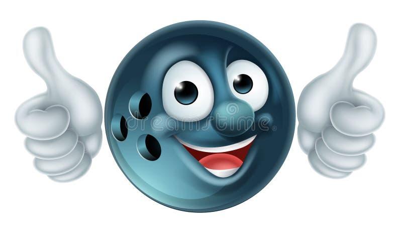 Personagem de banda desenhada da bola de boliches ilustração stock