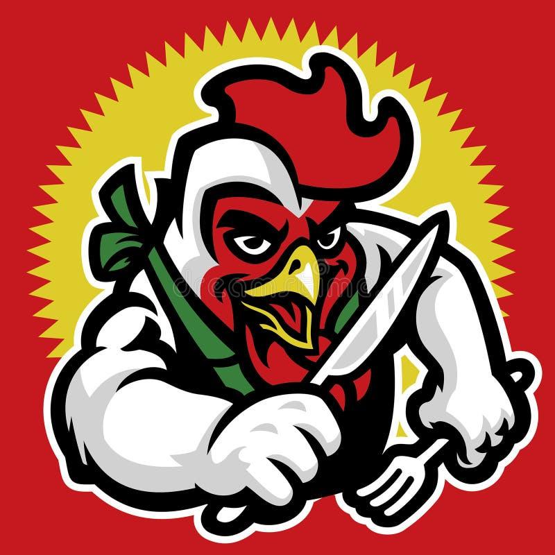 Personagem de banda desenhada da galinha para o restaurante ilustração royalty free