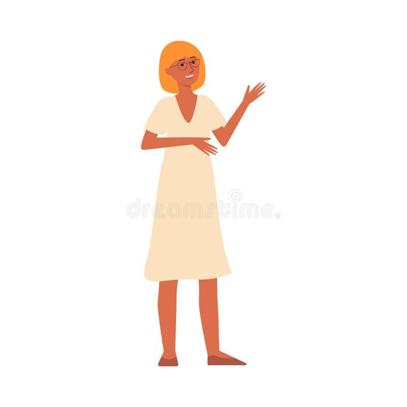 Personagem de banda desenhada da jovem mulher com posição e sorriso do cabelo louro e do vestido de sol ilustração do vetor