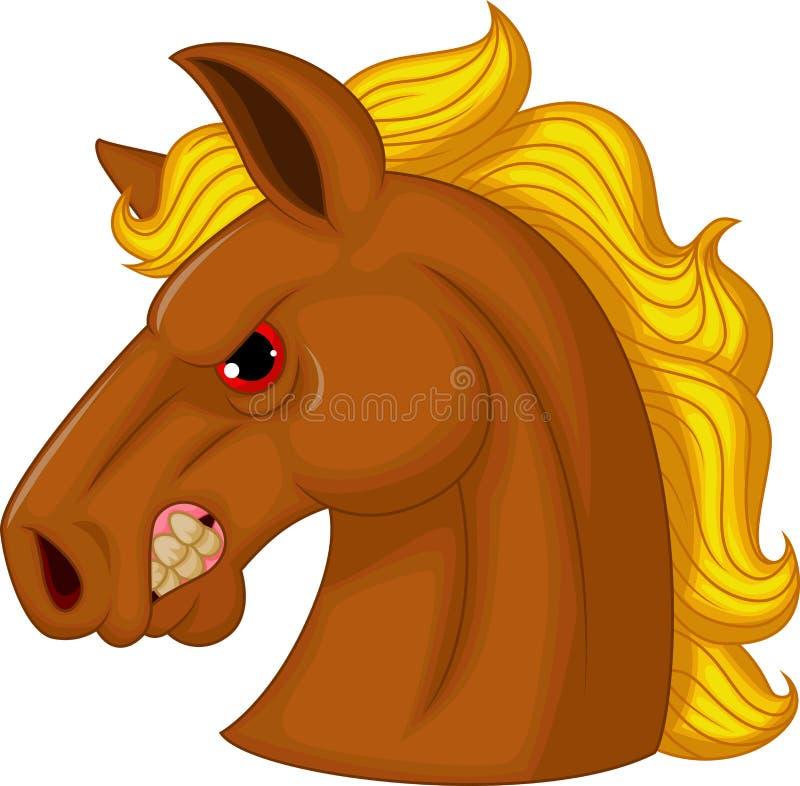 Personagem de banda desenhada da mascote da cabeça de cavalo ilustração royalty free