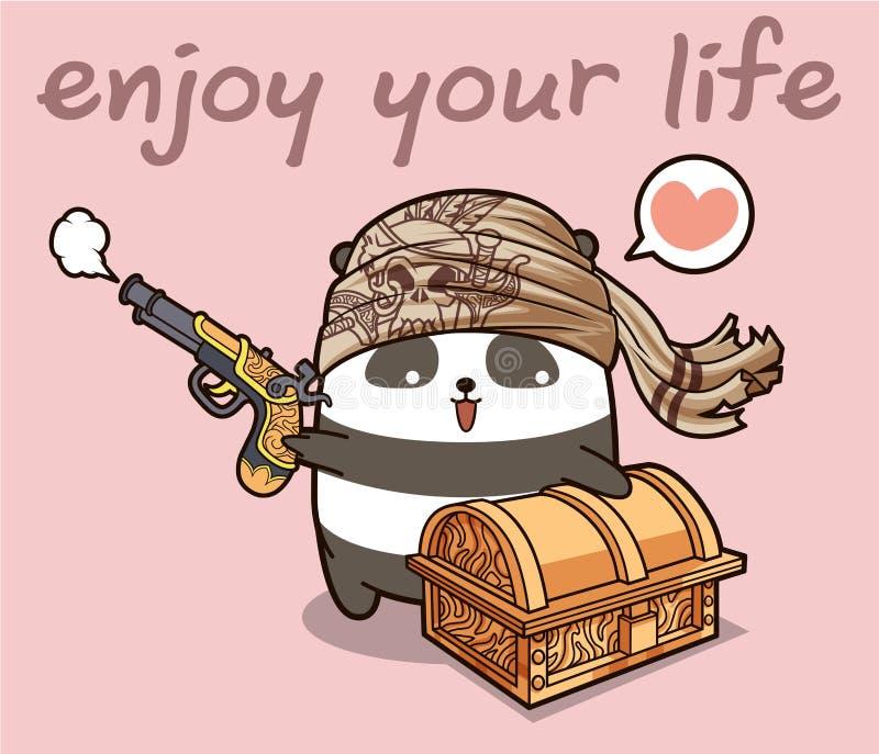 Personagem de banda desenhada da panda do pirata de Kawaii com uma caixa ilustração do vetor