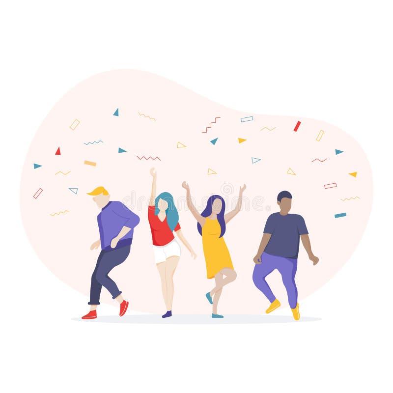 Personagem de banda desenhada de dança dos povos, tendo o divertimento um partido ilustração stock
