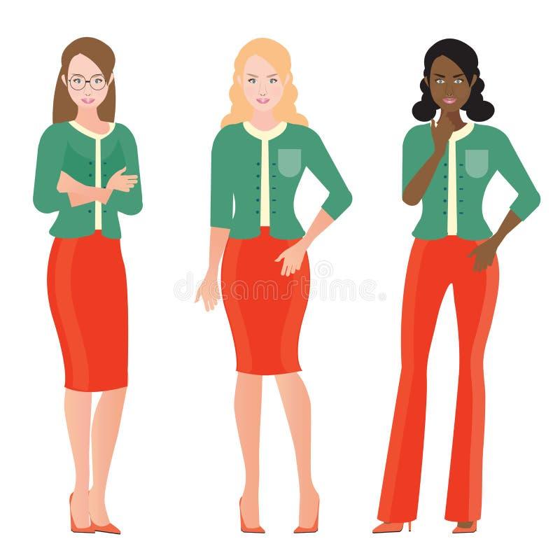 Personagem de banda desenhada de mulheres de negócio no terno esperto ilustração do vetor