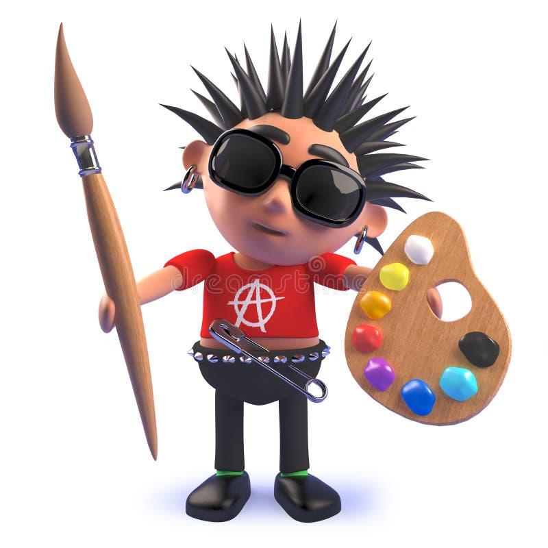 Personagem de banda desenhada do balancim punk em 3d que guarda um pincel e uma paleta com pinturas ilustração royalty free