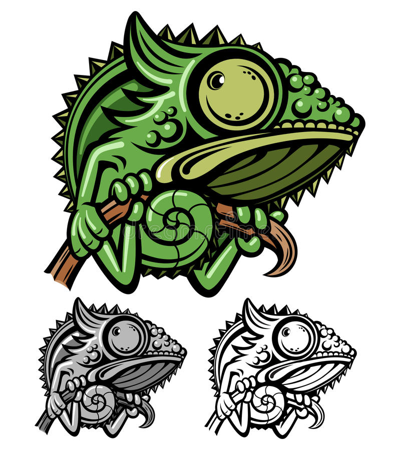 Personagem de banda desenhada do camaleão ilustração royalty free