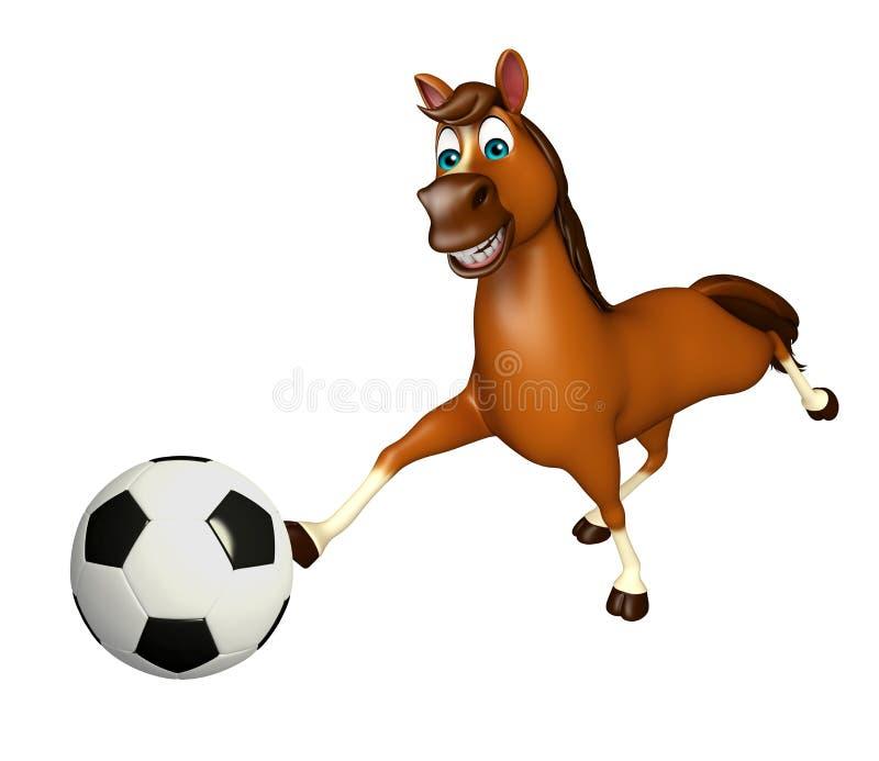 Personagem de banda desenhada do cavalo com futebol ilustração stock