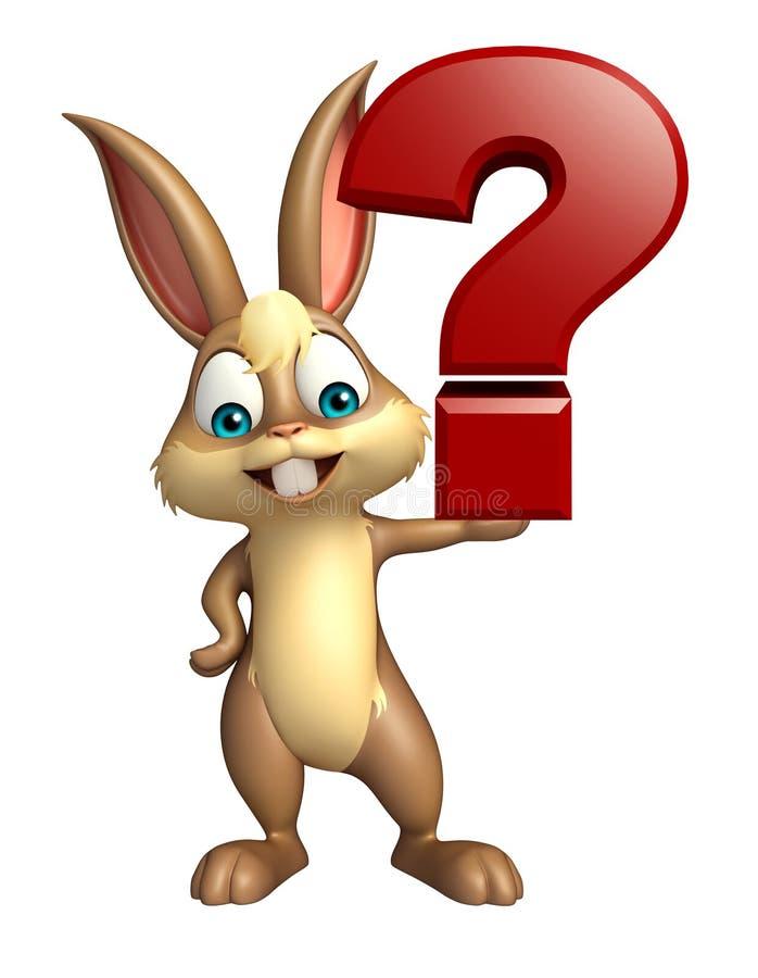 Personagem de banda desenhada do coelho com sinal do ponto de interrogação ilustração do vetor
