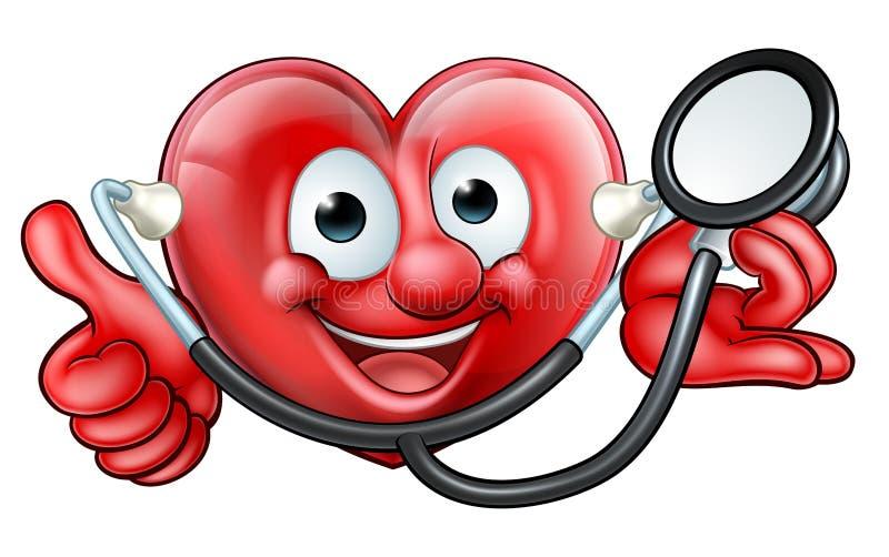 Personagem de banda desenhada do coração do estetoscópio ilustração royalty free