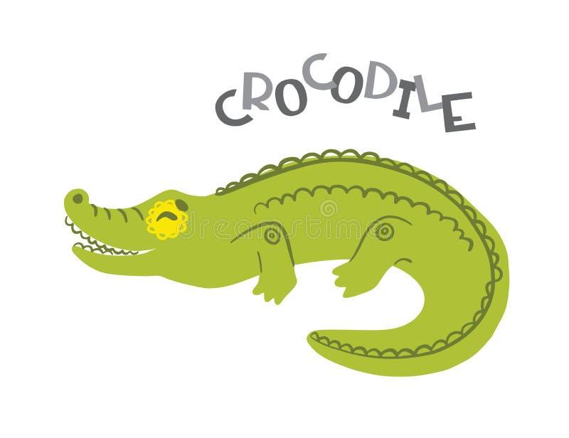Personagem de banda desenhada do crocodilo com rotulação Roda denteada ilustração royalty free