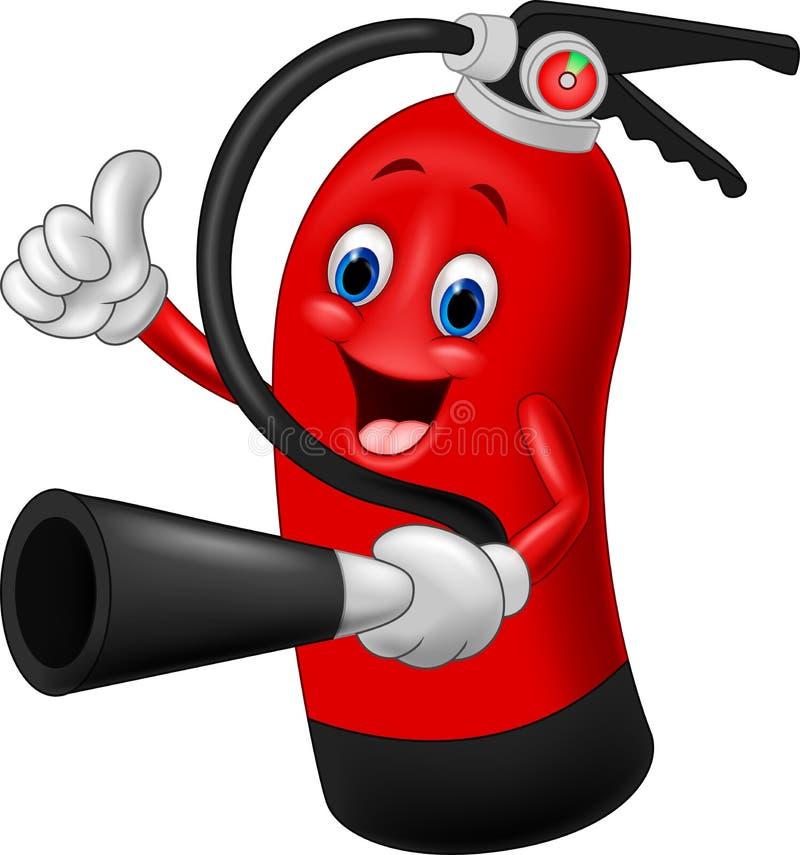Personagem de banda desenhada do extintor que dá o polegar acima ilustração stock