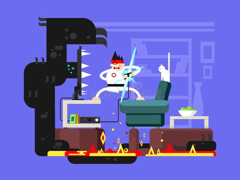 Personagem de banda desenhada do Gamer ilustração stock