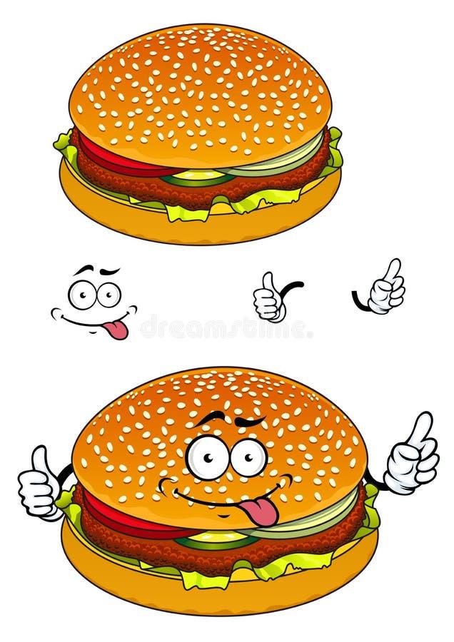 Personagem de banda desenhada do Hamburger isolado no branco ilustração do vetor