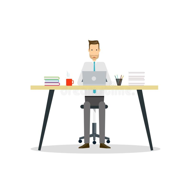 personagem de banda desenhada do negócio Funcionamento do homem de negócio ilustração stock