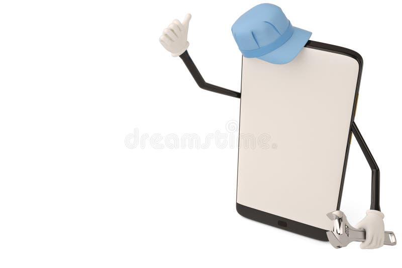 Personagem de banda desenhada do trabalhador da manutenção do smartphone illustrati 3d ilustração do vetor