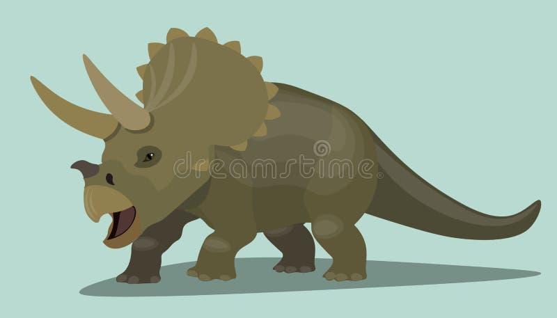 Personagem de banda desenhada do Triceratops do dinossauro Ilustração realística do projeto do lagarto marrom pré-histórico selva ilustração stock