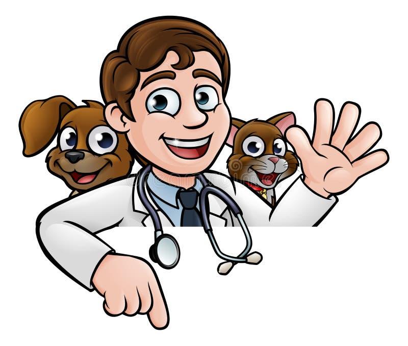 Personagem de banda desenhada do veterinário que aponta o sinal ilustração do vetor