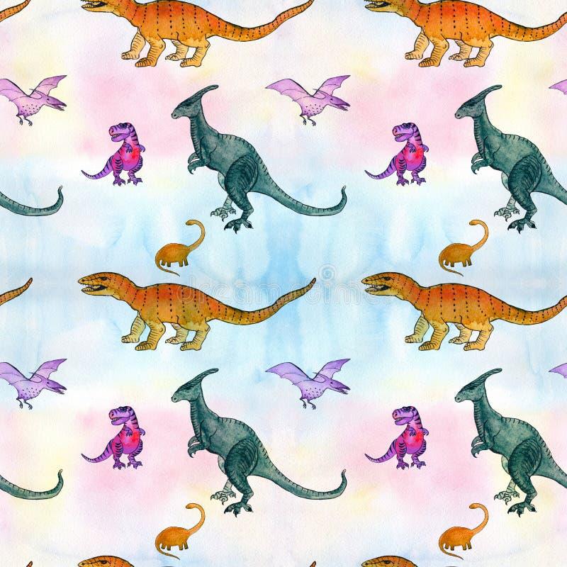 Personagem de banda desenhada dos dinossauros Ilustração para crianças Aquarela do desenho Teste padrão sem emenda ilustração royalty free