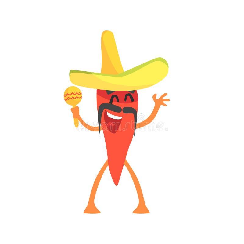 Personagem de banda desenhada encarnado de Chili Pepper Humanized Emotional Flat com sombreiro e Maracas ilustração stock
