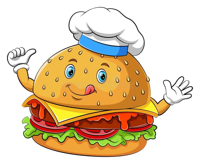 Personagem de banda desenhada engraçado do Hamburger ilustração royalty free