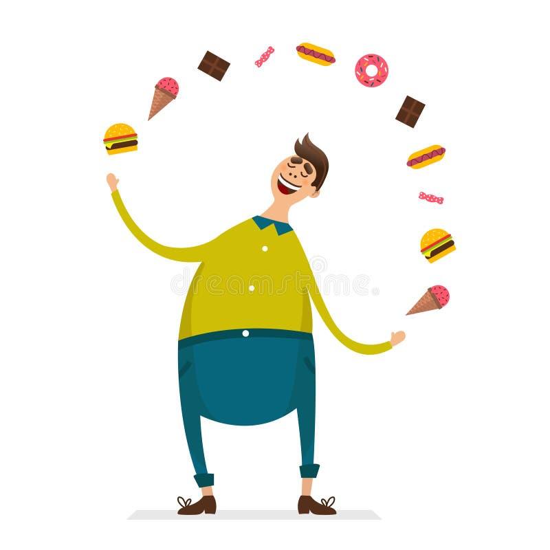 Personagem de banda desenhada engraçado gordo feliz do homem novo com comida lixo ilustração do vetor