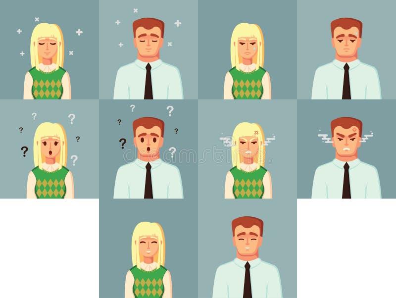Personagem de banda desenhada engraçado Ilustração confusa feliz irritada triste do vetor da mulher do homem da calma do trabalha ilustração royalty free