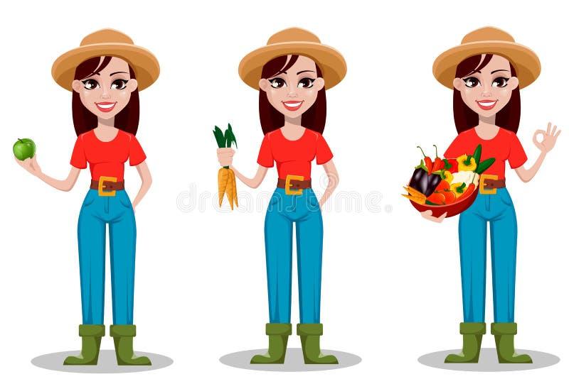 Personagem de banda desenhada fêmea do fazendeiro, grupo de três poses ilustração stock