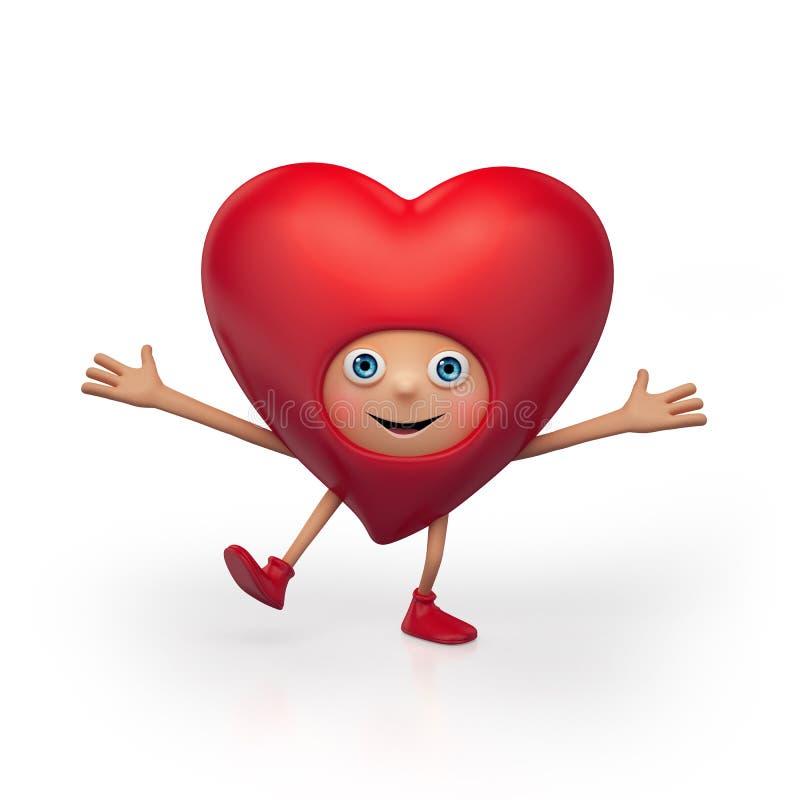 Personagem de banda desenhada feliz do coração do Valentim ilustração do vetor