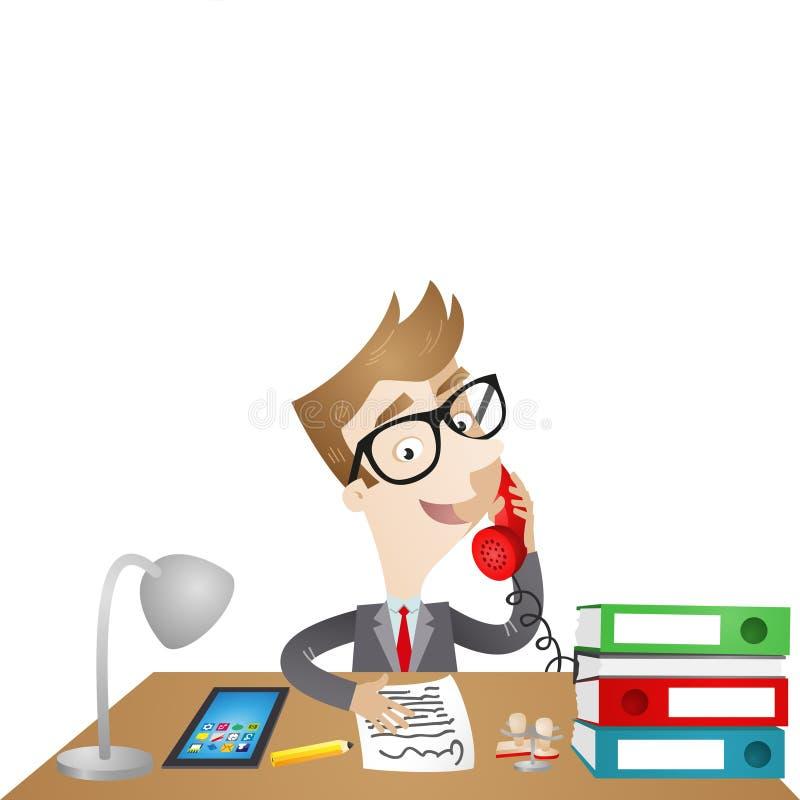 Personagem de banda desenhada: Homem de negócios que senta-se na mesa ilustração do vetor