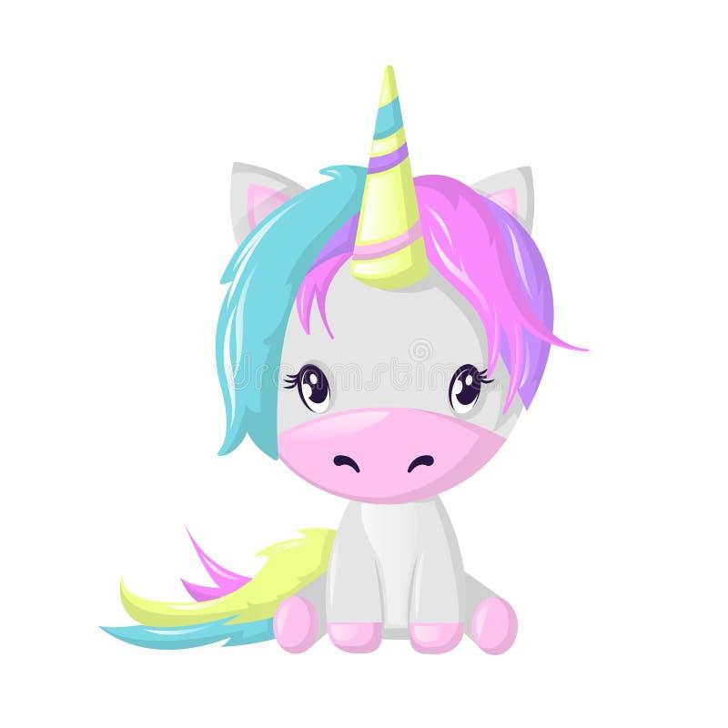 Personagem de banda desenhada imaginário bonito engraçado, unicórnio colorido Animal da fada da fantasia ilustração royalty free